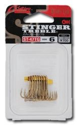 ST-47TG Medium Heavy wire triple hooks, Titanium Gold coated