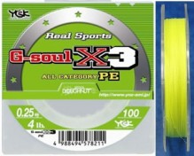YGK G-soul X3 braided lines (PE spectra) (soft body, thin coating)