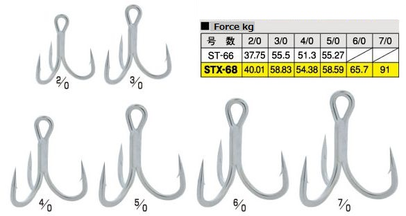 Cultiva STX-68 Extra Heavy wire triple hooks, TN coated saltwater resistant