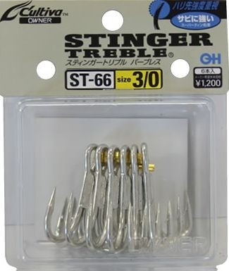 Owner ST-66 Super Heavy wire triple hooks, TN coated saltwater resistant